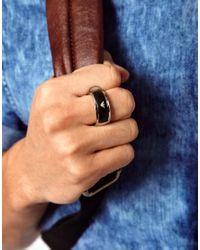 Emporio Armani | Metallic Logo Ring | Lyst
