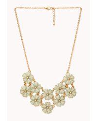 Forever 21 | Green Shimmering Floral Bib Necklace | Lyst