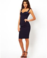 Hybrid | Blue Pencil Dress with Gathered Waist and Sweetheart Neck | Lyst