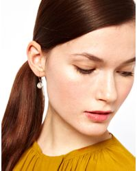 Laura Lee - Gray Circle Star Engraved Drop Earrings - Lyst