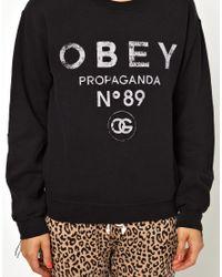 Obey - Black 89 Propaganda Sweatshirt - Lyst