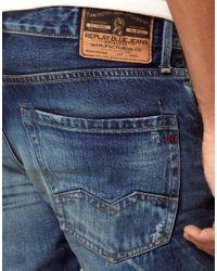 Replay | Blue Waitom Lazerblast Regular Slim Straight Jeans for Men | Lyst