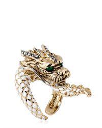 Roberto Cavalli - Metallic Swarovski Dragon Ring - Lyst