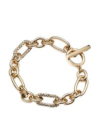 Anne Klein - Metallic 12kt Gold Plated Chain Link Bracelet with Crystal Embellishments - Lyst