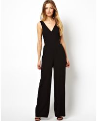 5a50c2359d6 Lyst - ASOS Jumpsuit With Wide Leg And Cut Out Back in Black