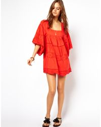 ASOS | Red Sundress with Crochet Trim and Embroidery | Lyst