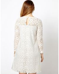 ASOS - Red Exclusive Swing Dress in Baroque Lace - Lyst