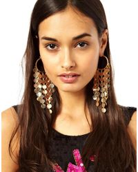 ASOS - Metallic Disc Hoop Earrings - Lyst