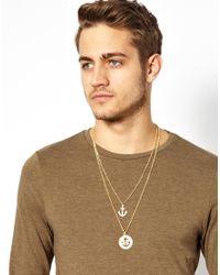 ASOS - Metallic Necklace with Cutout Anchor for Men - Lyst