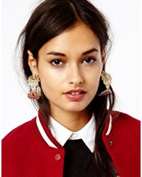 ASOS - Metallic Paisley Filigree Hoop Earrings - Lyst