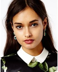 ASOS | Green Vintage Look Jewel Earrings | Lyst