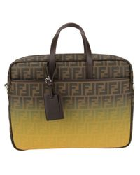 Fendi | Brown 'Zucca' Gradient Briefcase for Men | Lyst