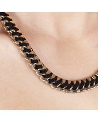 John Lewis - Black Cord Weave Box Chain Necklace - Lyst