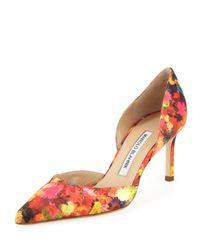 Manolo Blahnik | Multicolor Tayler Floral Sateen Dorsay Pump | Lyst