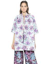 Mary Katrantzou | Purple Floral Printed Cotton Blend Coat | Lyst