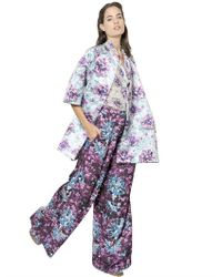 Mary Katrantzou   Purple Floral Printed Cotton Blend Coat   Lyst