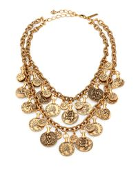 Oscar de la Renta | Metallic Twostrand Cast Coin Bib Necklace | Lyst