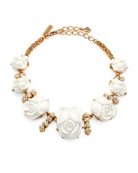 Oscar de la Renta | Metallic Carved Rose Crystal Necklace | Lyst