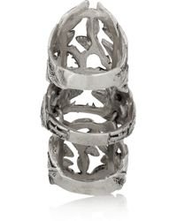 Pamela Love - Metallic Articulated Maia Burnished Silver Ring - Lyst