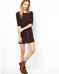 Sessun - Brown Zanzi Dress in Jersey with Leather Belt - Lyst