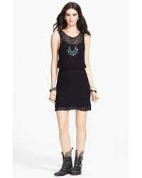 Free People | Black Elastic-waist Dress | Lyst