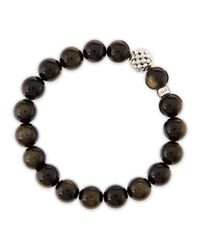 Lagos | Metallic 10mm Caviarball Obsidian Beaded Stretch Bracelet | Lyst