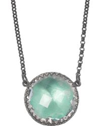 Larkspur & Hawk - Green Olivia Button Oxidized Sterling Silver Topaz Necklace - Lyst