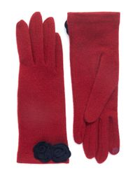 Portolano | Purple Open Sesame Gloves With Rose Decoration | Lyst