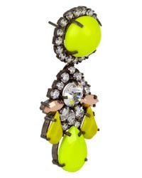 Shourouk | Yellow Marguerite Silverplated Swarovski Crystal Earrings | Lyst