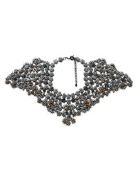 Zara | Black Floral Gemstone Necklace | Lyst