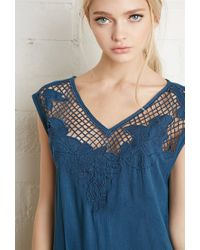 Forever 21 | Blue Crocheted Floral Embroidery Dress | Lyst