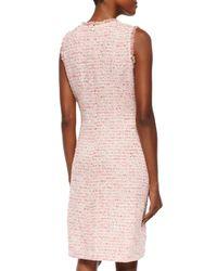 Neiman Marcus - Pink Sleeveless Boucle Sheath Dress - Lyst