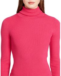 Lauren by Ralph Lauren | Pink Petite Ribbed Turtleneck Sweater | Lyst