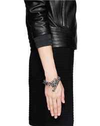 Venna | Black Crystal Panther And Spike Bracelet | Lyst