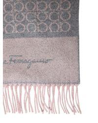 Ferragamo | Gray Gancini Logo Cashmere Jacquard Scarf | Lyst