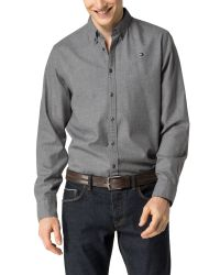 Tommy Hilfiger Gray Light Flannel Shirt for men