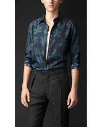 Burberry - Blue Leaf Print Cotton Silk Artist Shirt for Men - Lyst