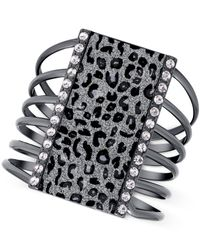 Guess | Metallic Hematite-tone Cut Out Bracelet With Clear Crystal And Leopard Print Glitter Accents | Lyst
