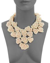 Oscar de la Renta - Natural Crystal Swirl Flower Bib Necklace - Lyst