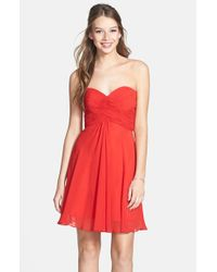 Faviana | Red Chiffon Fit & Flare Dress | Lyst