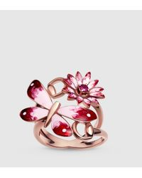 Gucci | Pink Flora Ring In Rose Gold, Enamel And Rubies | Lyst