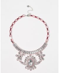 Lipsy | Pink Plated Crystal Collar Necklace | Lyst