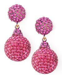 Jose & Maria Barrera - Pink Pave Crystal Double-drop Earrings Fuchsia - Lyst