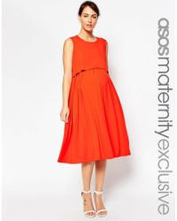 ASOS | Orange Nursing Sleeveless Midi Skater Dress With Double Layer | Lyst
