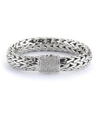 John Hardy - Metallic Pre-owned Rope Bracelet with Pave Diamond Clasp - Lyst