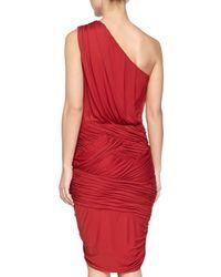 Halston - Red One-shoulder Ruched Dress - Lyst