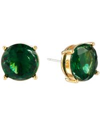 Lauren by Ralph Lauren | Green Large Faceted Round Stone Stud Earrings | Lyst