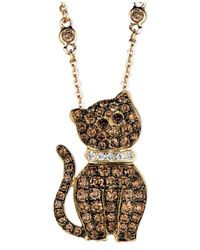 Le Vian - Metallic Chocolate Diamond (7/8 Ct. T.W.) And White Diamond Accent Cat Pendant In 14K Gold - Lyst