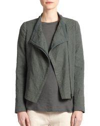 Vince - Green Textured Stretch-cotton Scuba Jacket - Lyst