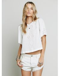 Free People | White Womens Cutwork Indigo Top | Lyst